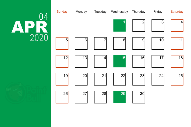 Apr 2020 Free Shipping Calender