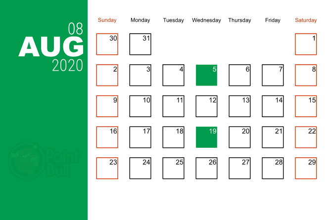 Aug 2020 Free Shipping Calender
