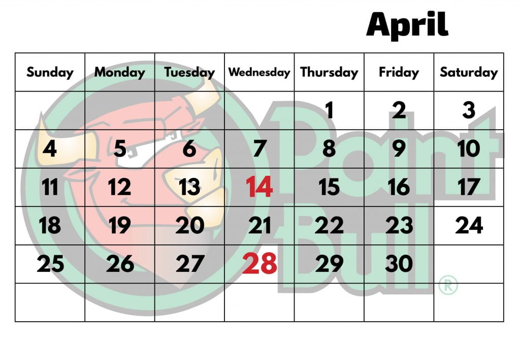 Apr 2021 Free Shipping Calender